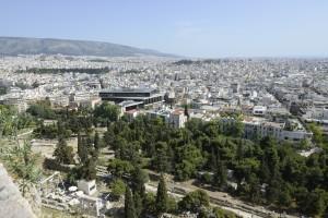 Le musée de l'Acropole au sud de l'Acropole